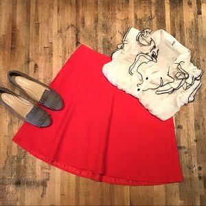 Ann Taylor LOFT red flare circle/skater skirt